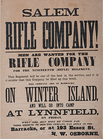 19th Regiment Massachusetts Volunteer Infantry - Image: Massachusetts 19th Rifle Regiment, Civil War Recruitment Broadside