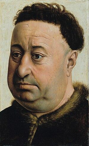 Portrait of a Fat Man - Portrait of a Fat Man, oil on oak wood, 285 x 177 mm (11 x 7 in). (This version) Gemäldegalerie, Berlin