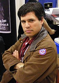 Max Brooks models his Rocket Llama emblem at Wizard World Texas.
