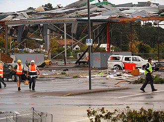 2011 in New Zealand - Structural damage caused by the Albany tornado