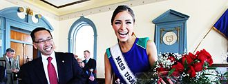 Allan Fung - Fung honors Cranston resident Olivia Culpo with a key to the City, after her coronation as Miss USA 2012.