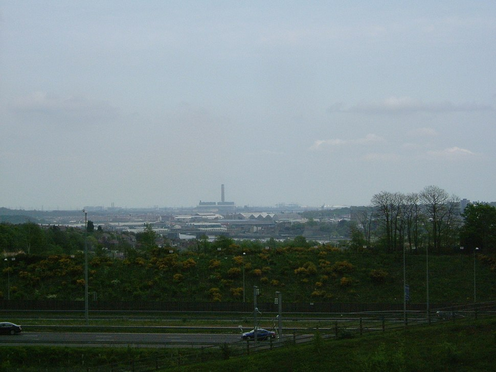 View ENE from Merrall's Shaw, Cuxton over the riverside parts and higher slopes of the Medway Towns
