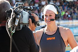 Megan Romano after winning 100 freestyle-2 (9002641272).jpg