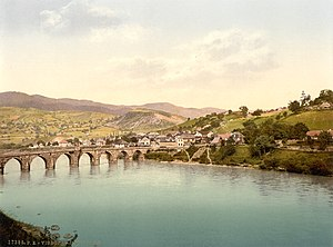 Drina - Drina at Višegrad around 1900, Bosnia and Herzegovina