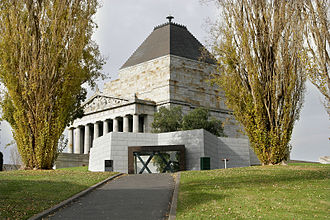 War memorial - Shrine of Remembrance in Melbourne, Australia.