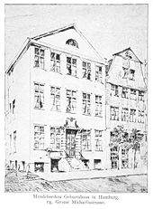 Geburtshaus, Große Michaelisstraße 14 in Hamburg, um 1900 (Quelle: Wikimedia)