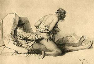 Woman on top - Depiction of reverse cowgirl position by Mihály Zichy (around 1911)
