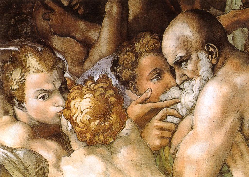 Michelangelo, giudizio universale, dettagli 03 bacio.jpg