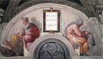 """Michelangelo - Sistine Chapel ceiling - Lunette """"Hezekiah - Manasseh - Amon"""".jpg"""