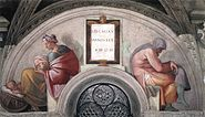 "Michelangelo - Sistine Chapel ceiling - Lunette ""Hezekiah - Manasseh - Amon"""
