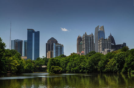The skyline of Midtown (viewed from Piedmont Park) emerged with the construction of modernist Colony Square in 1972. Midtown HDR Atlanta.jpg