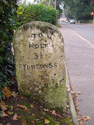 A148 road - Image: Milestones on the A148 22nd October 2007 (6)