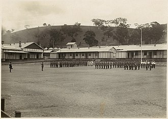 Royal Military College, Duntroon - Military cadets on parade at RMC, Duntroon, taken around 1920