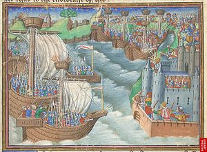 Miniature of the Christian fleet approaching Gaeta.jpg