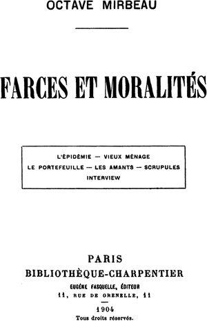 Farces et moralités cover