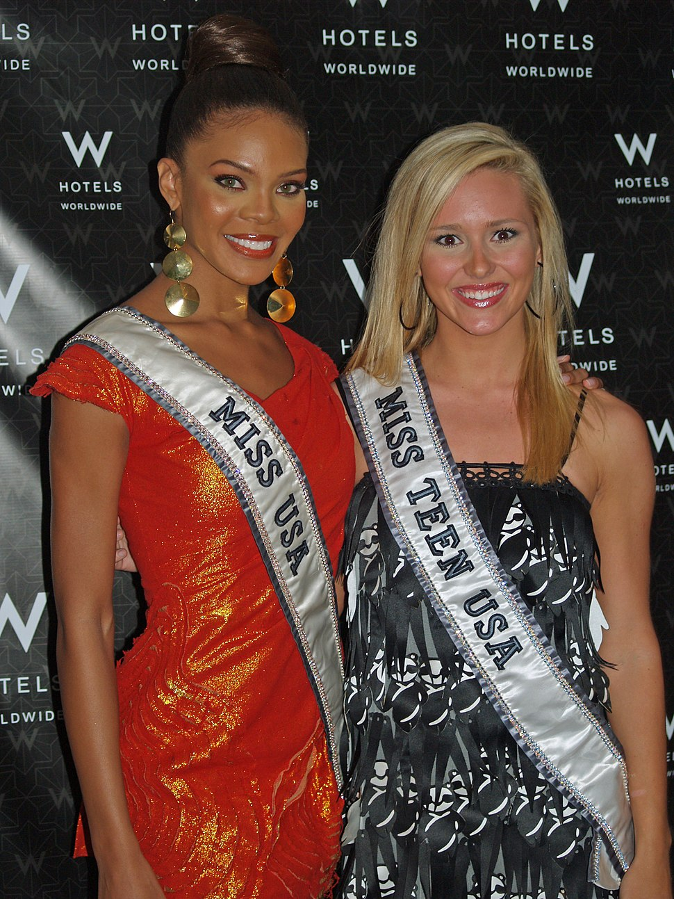 Miss USA Crystle Stewart and Miss Teen USA Stevi Perry at Mercedes-Benz Fashion Week