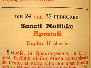 Adding a leap day (after 23 February) shifts the commemorations in the 1962 Roman Missal. MissaleLeapYear.jpg