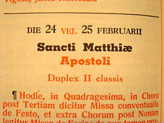 In the older Roman Missal, feast days falling on or after February 24 are celebrated one day later in leap year. MissaleLeapYear.jpg