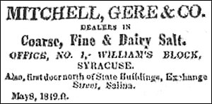 Dairy salt - An 1819 newspaper advertisement for various salts, including dairy salt