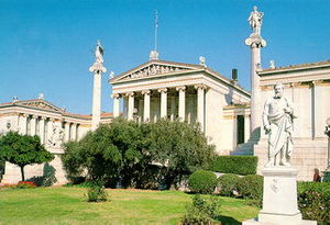 The modern Academy of Athens, next to the University of Athens and the National Library forming 'the Trilogy', designed by Schinkel's Danish pupil Theofil Hansen, 1885, in Greek Ionic, academically correct even to the polychrome sculpture.