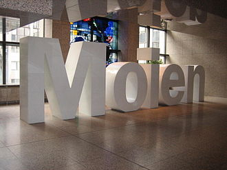 "Luxembourgish - ""Moien"" (""Hello""): Sculpture (approx. 2 meters high) in the Justus-Lipsius building during the Luxembourgish EU-Presidency, first half of 2005"