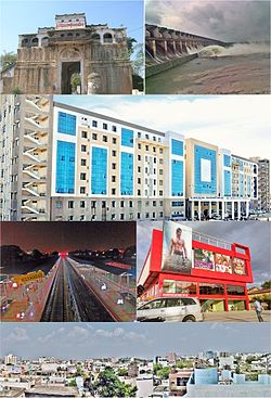 Montage of Nizamabad Sidewise from top left: Nizamabad Fort، Sriram Sagar Project، Government Hospital، Nizamabad railway station، Usha Prasad Multiplex، Nizamabad East view.