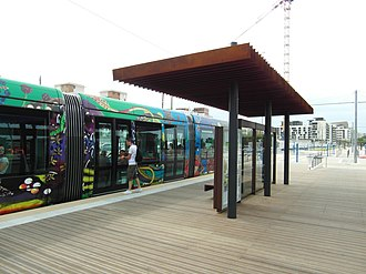 Montpellier tramway - Trams from Line 3 at Lattes Centre.