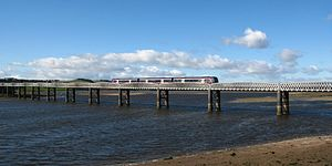Edinburgh–Aberdeen line - A northbound Class 170 crosses the viaduct at Montrose