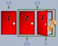 Monty Hall. Ilustración de paradoja. Puerta abierta.png
