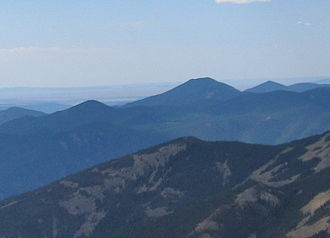 Mount Phillips (New Mexico) - Mount Phillips (tallest mountain, at center) seen from Baldy Mountain