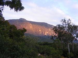 Mulanje Massif - Western side of Mulanje Mountain in Sunset, seen from Likhubula Falls