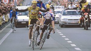 Johan Museeuw - Museeuw missed his second Tour of Flanders win by 7 mm in 1994.