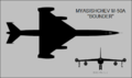 Myasishchev M-50A Bounder two-view silhouette.png