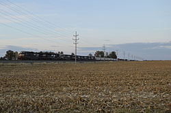 Rail line and fields north of Chatfield