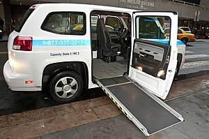"""Vehicle Production Group - Side view of the MV-1, in use by """"Access-A-Ride"""", NYC's paratransit system"""
