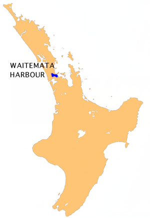 Location map of Waitemata Harbour, New Zealand