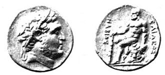 Nabis - Coin of Nabis of Sparta claiming to be king; legend reads ΒΑΙΛΕΟΣ (Doric Greek for βασιλέως, genitive of βασιλεύς) and ΝΑΒΙΟΣ (Νάβιος is Doric Greek for Νάβιδος, genitive of Νάβις)