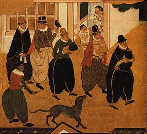 Nanban art - Detail of a Nanban byōbu of c.1593-1600 attributed to Kanō Domi