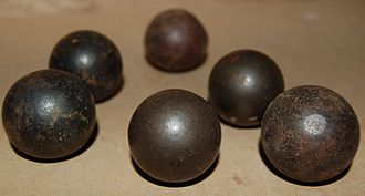Cast bullet - Early, spherical cast bullets, found on the site of the Battle of Naseby (1645), Northampton Museum and Art Gallery