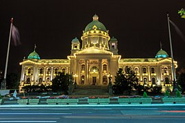 National Assembly of Serbia building by night