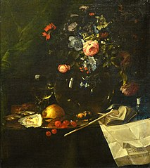 Vanitas with Bouquet of Flowers and Pipe