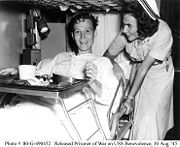 Navy nurse and released POW on USS benevolence, August 1945 highres