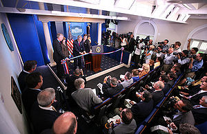 James S. Brady Press Briefing Room - President George W. Bush participates in the unveiling of the new Brady Briefing Room on July 11, 2007.