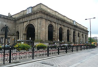 Newcastle railway station - The main entrance portico on Neville Street.