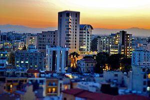 Nikósie: Nicosia Financial quarter just after sunset Nicosia Republic of Cyprus