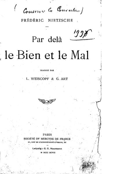 File:Nietzsche - Par delà le Bien et le Mal, trad. Weiskopf et Art, 1898.djvu