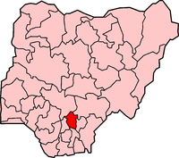 Location of Enugu State in Nigeria
