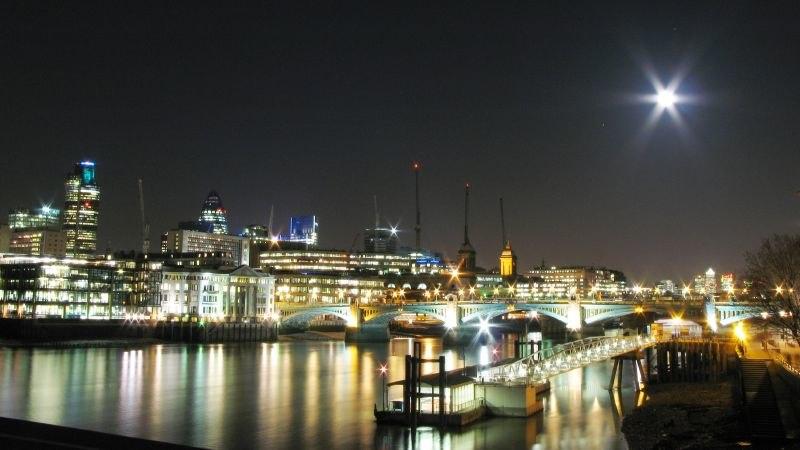 Night London Panorama with Full Moon