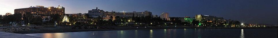 Night panorama of tourist area of Limassol, Cyprus