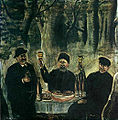 Niko Pirosmani. ''Feast of Three Townsmen, Set in a Forest''. Oil on oil-cloth, 117x117 cm. The State Museum of Fine Arts of Georgia, Tbilisi.jpg
